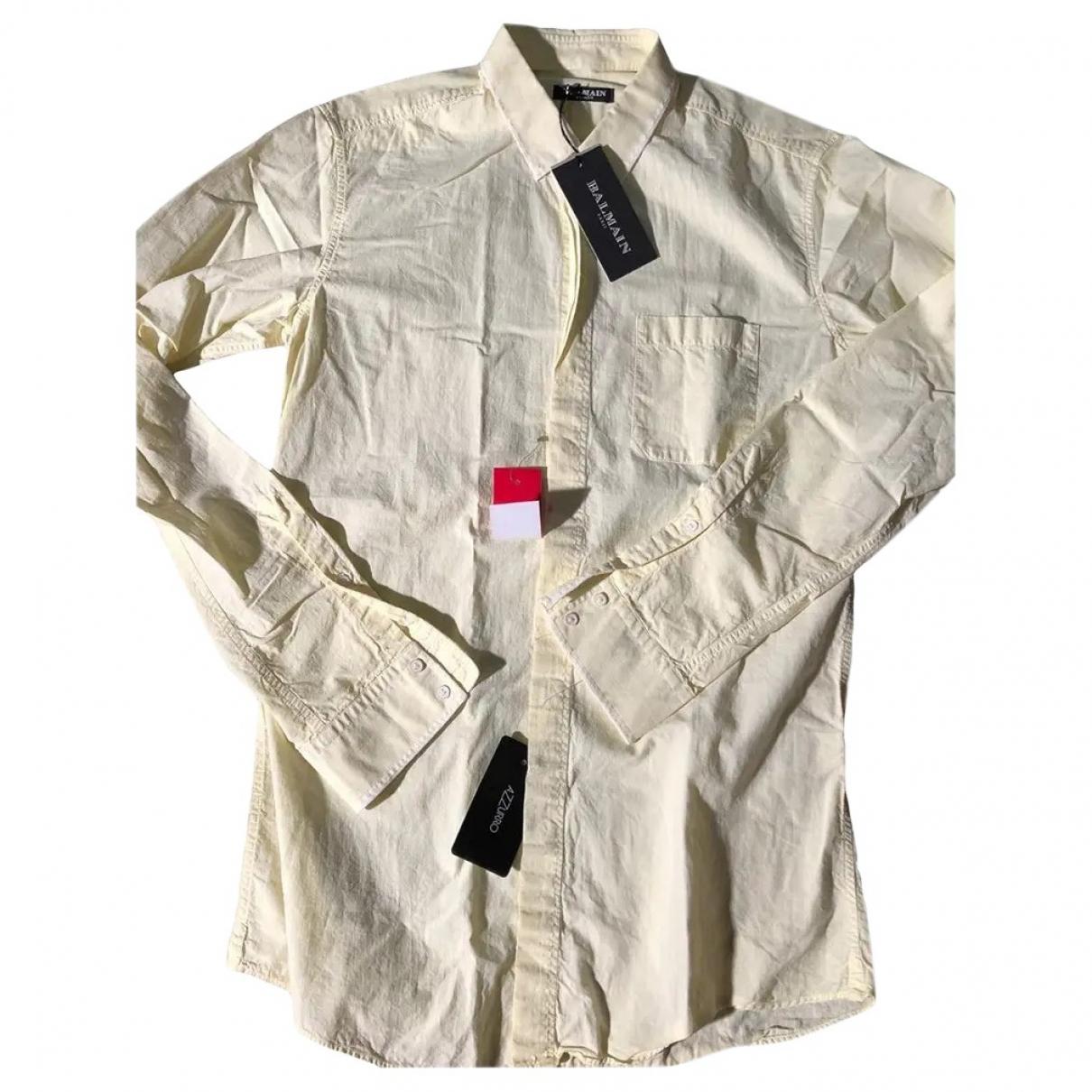 Balmain \N Yellow Cotton Shirts for Men 39 EU (tour de cou / collar)
