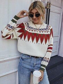 Raglan Sleeve Fair Isle Sweater