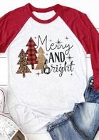Christmas Merry And Bright Baseball T-Shirt Tee