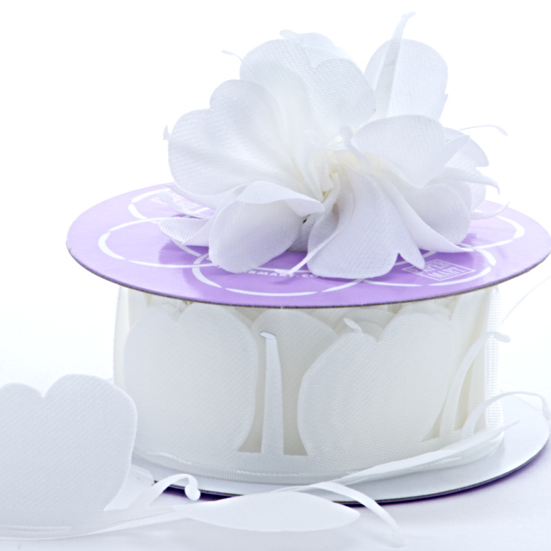1 1/2 X 10 Yards Satin White Fabric Petal Pull Bow by Ribbons.com