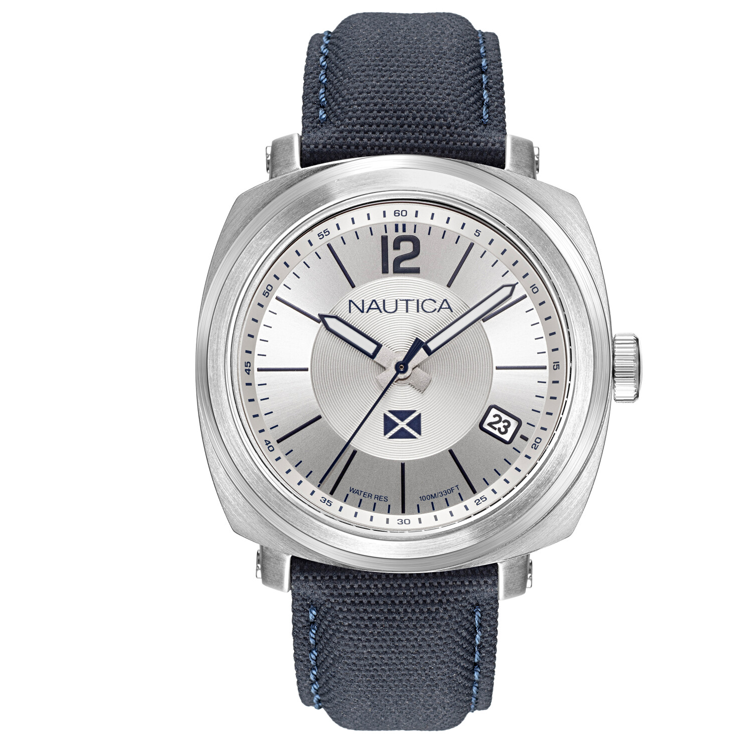 Nautica Watch NAPPGP904 Park Gate Analog, Water Resistant, Date Display, Luminous Hands, Blue Leather Fabric Strap, Silver