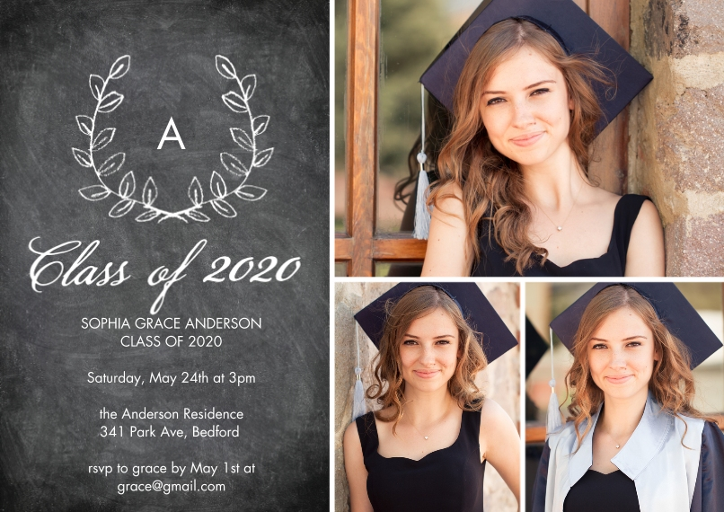 2020 Graduation Invitations Flat Matte Photo Paper Cards with Envelopes, 5x7, Card & Stationery -Grad 2020 Initial by Tumbalina