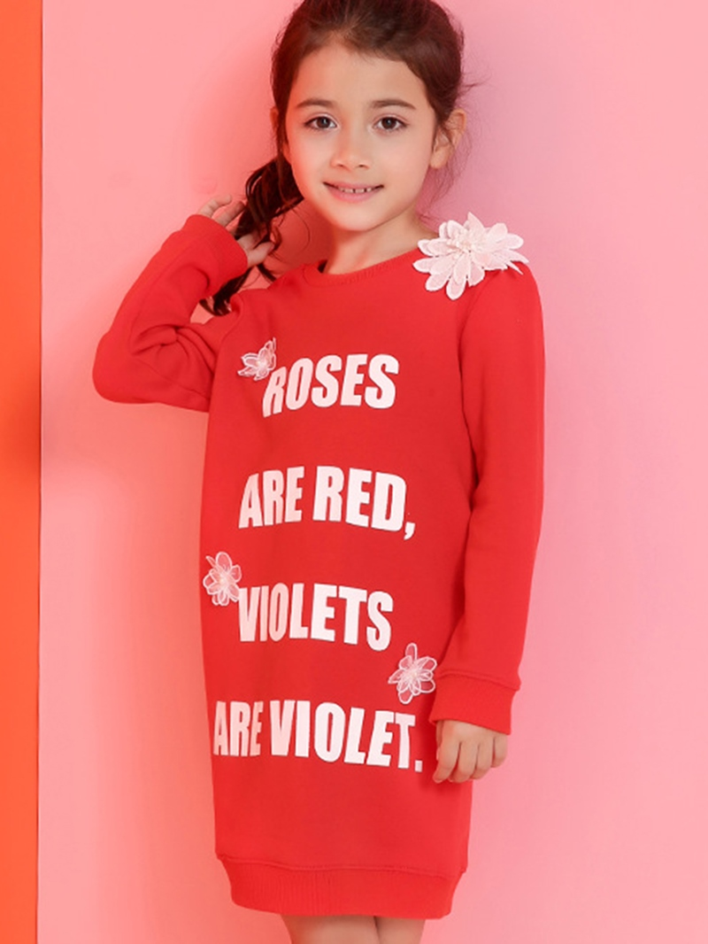 Ericdress Lace Floral Appliques Letter Printed Long Sweatshirts Girls Tops