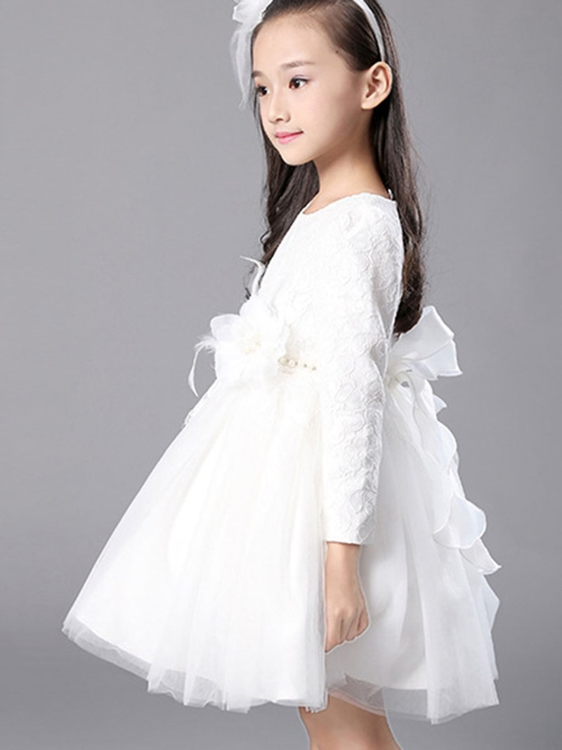 Ericdress Lace Flower Long Sleeve Lace-Up Girls Dress