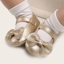 Baby Girl Bow Decor Velcro Strap Flats
