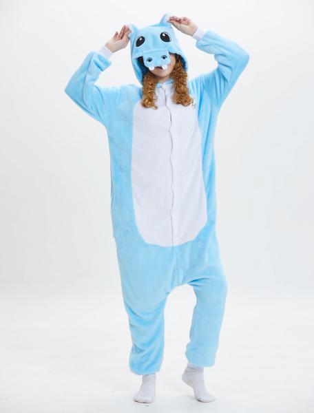 Milanoo Hippo Onesie Kigurumi Pajamas Flannel Blue Winter Sleepwear Hooded Unisex Adult Animal Costume Halloween