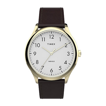 Timex Mens Gold Tone Leather Strap Watch-Tw2t71600jt, One Size , No Color Family