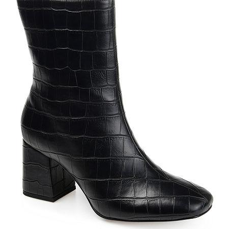 Journee Collection Womens Trevi Booties Block Heel, 11 Medium, Black