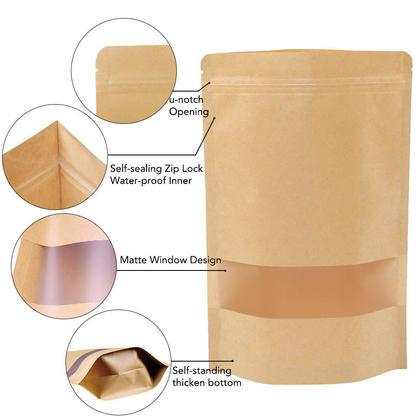 Serrure à glissière réutilisable tenant un sac en papier kraft avec fenêtre, 10pcs - LIVINGbasics™ - L