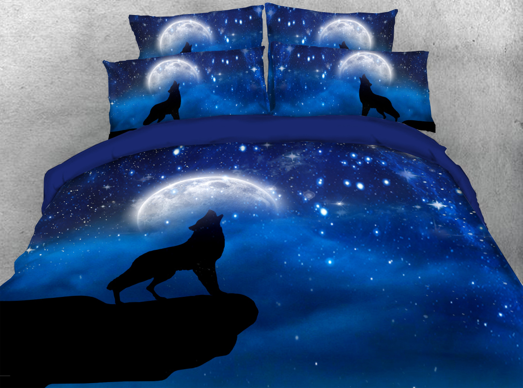 3D Wolf and Moon 4Pcs Zipper Animal Bedding Reactive Printing Soft Hard-wearing Colorfast Duvet Cover Set with Ties
