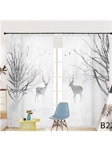 Concise Style Grey Ink Painting Elk 3D Printed Semi-blackout Curtains