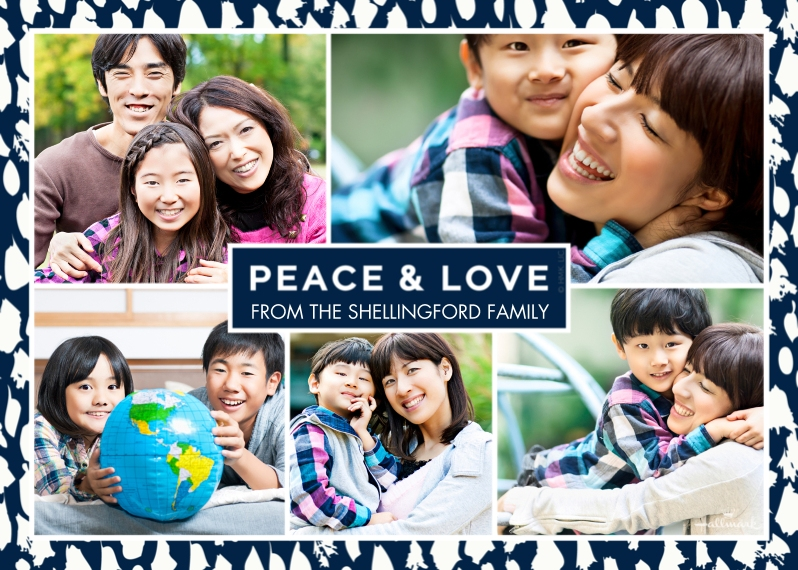 Holiday Photo Cards 5x7 Cards, Premium Cardstock 120lb with Rounded Corners, Card & Stationery -Peace & Love Border