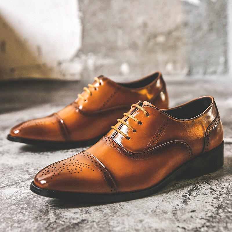 Men Brogue Microfiber Leather Non Slip Business Casual Dress Shoes