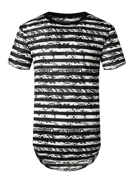 Milanoo Stripe T Shirts Jewel Neck Short Sleeves Tee Tops