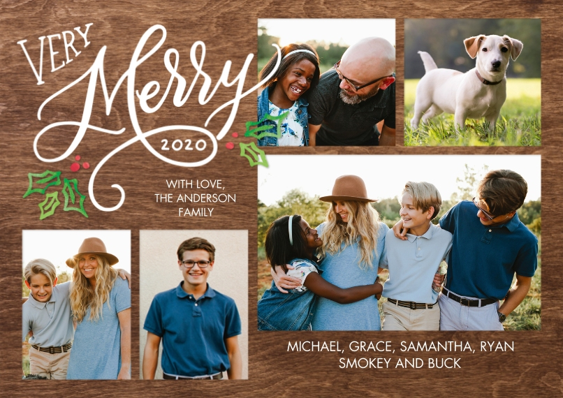 Christmas Photo Cards 5x7 Cards, Standard Cardstock 85lb, Card & Stationery -Christmas 2020 Merry Holly by Tumbalina