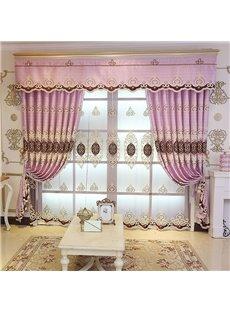 Fancy and Elegant Embroidered 2 Panels Custom Living Room Bedroom Pink Sheer Curtain
