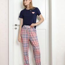 Heart Print Tee & Plaid Pants Pajama Set