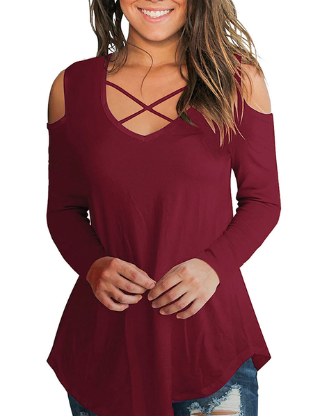 Yoins Red Cold Shoulder Crossed Front Design Plain Round Neck Long Sleeves Tees