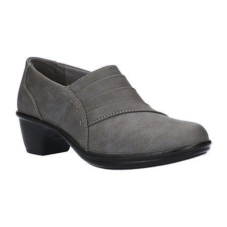 Easy Street Womens Louisa Clogs, 8 Extra Wide, Gray