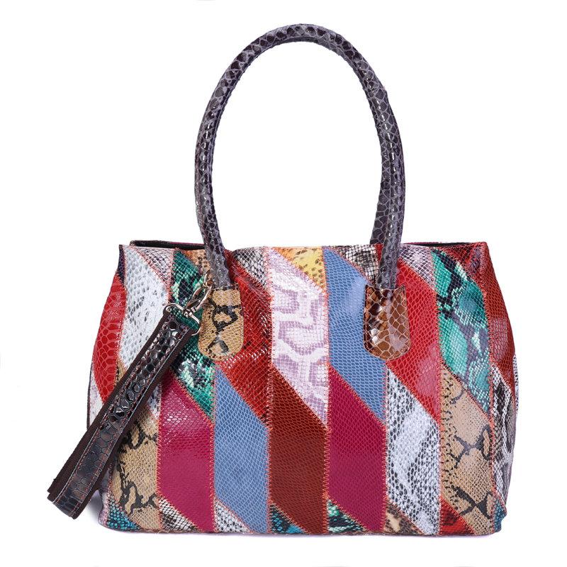 Women Patchwork Genuine Leather Vintage Hnadbags Large Capacity Crossbody Bags