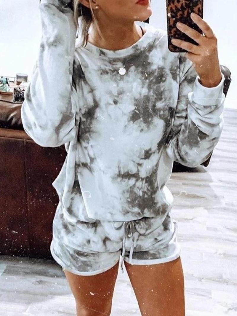 Ericdress Color Block Polyester Print Sleep Top Long Sleeve Pajama Suit