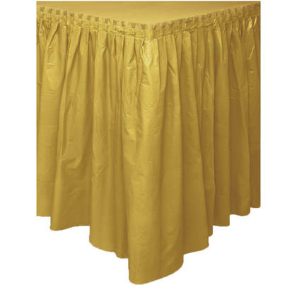 Party Plastic Table Skirt Solid Color Gold 29