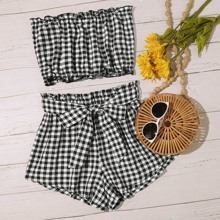 Frill Trim Gingham Tube Top & Belted Shorts Set