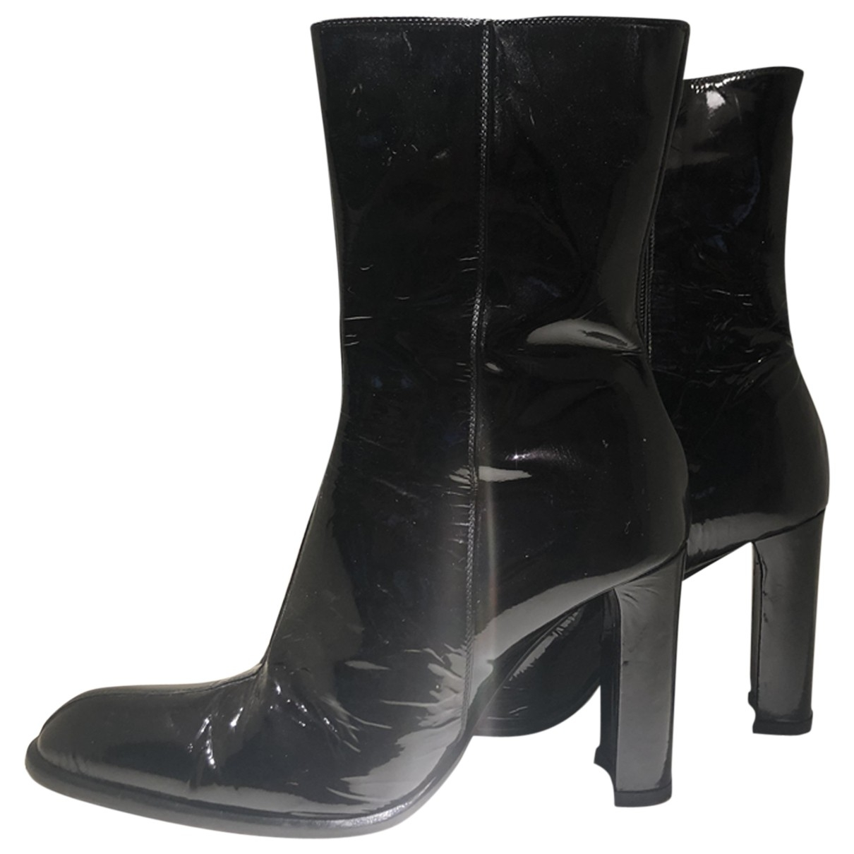 Non Signé / Unsigned \N Blue Leather Ankle boots for Women 37.5 EU
