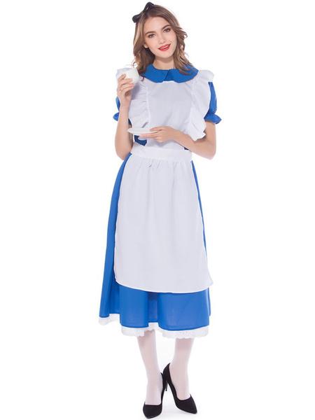 Milanoo Beer Girl Costume White Lace Ruffles Apron Polyester Oktoberfest Holidays Costumes Oktoberfest Costumes