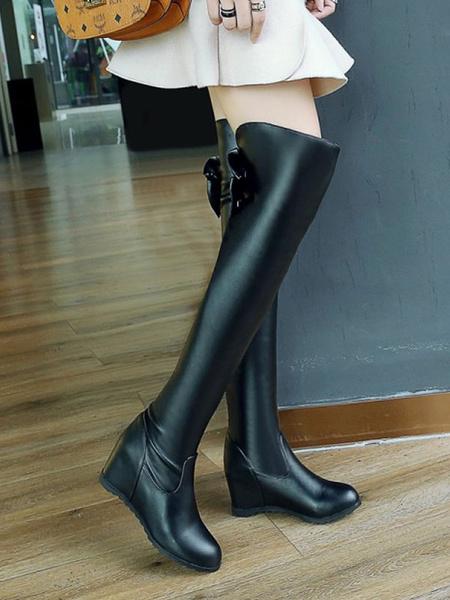 Milanoo Sweet Lolita Boots Bows Round Toe Hidden Heel Lolita Footwear