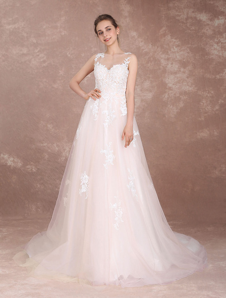 Milanoo Wedding Dresses Ivory Lace Applique Bridal Gown Illusion Beading Long Train Bridal Dress (extra Sash Included)