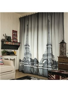Two Symmetrical Big Ben Printed Great Scenic Spot Living Room Double Pinch Pleat Curtain