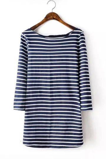 Yoins Navy and White Slim Stripe Half Sleeve Round Neck T-shirt