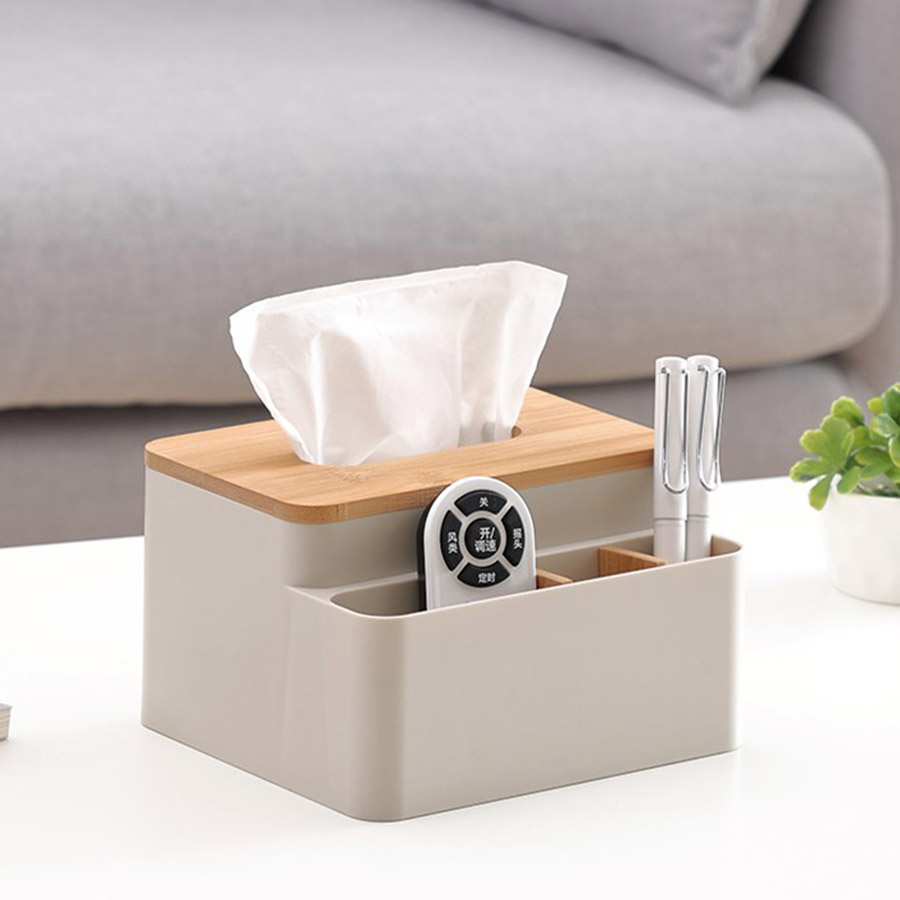 Japanese Style Multifunction Plain Pattern Tissue Box