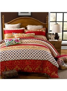 Elegant Bohemia Stripes Print Exotic Style Peached Cotton 4-Piece Bedding Sets/Duvet Cover