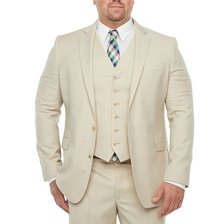 Stafford Super Mens Stretch Classic Fit Suit Jacket-Big and Tall, 52 Big Short, Beige