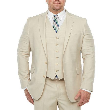 Stafford Super Mens Stretch Classic Fit Suit Jacket-Big and Tall, 52 Big Regular, Beige