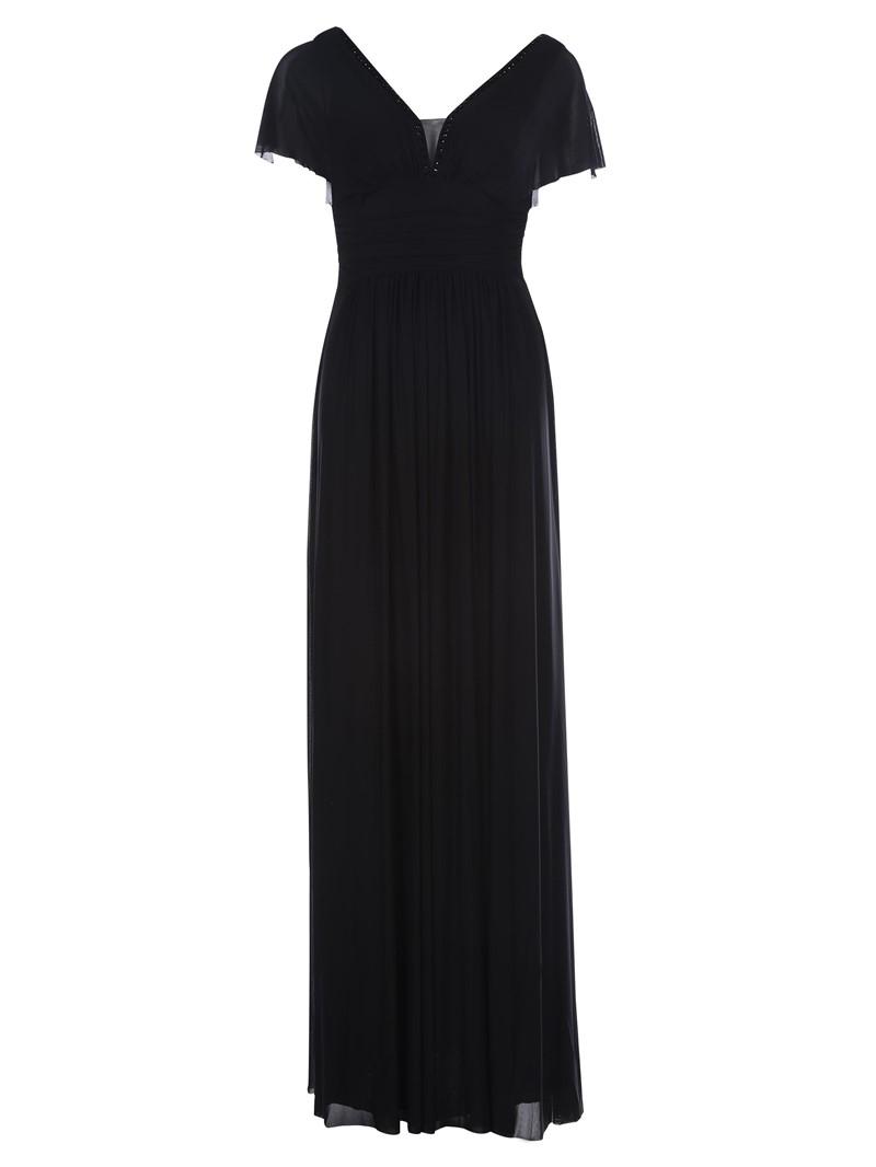 Ericdress V Neck Zipper-Up A Line Evening Dress