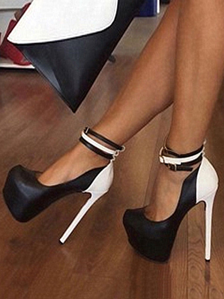 Milanoo Women Sexy High Heels Round Toe Color Block Platform Ankle Strap Sexy Shoes For Party