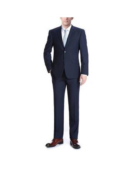 Verno Albani Mens Navy Notch Lapel Classic fit  Suit