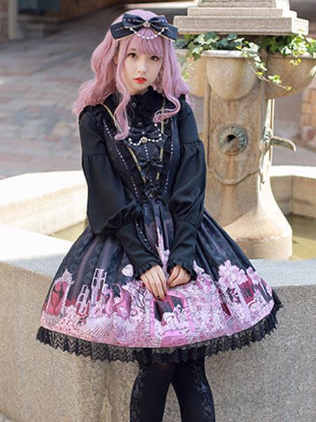 Milanoo Classic Lolita Blouses Chiffon Stand Collar Long Sleeve Ruffles Pleated White Lolita Top