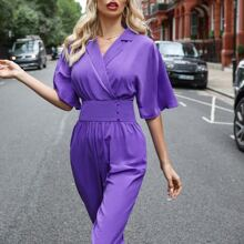 Notched Collar Buttoned Waistband Jumpsuit