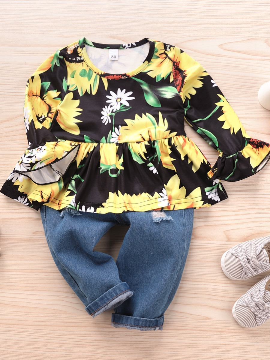 LW lovely Sweet O Neck Floral Print Multicolor Girl Two-piece Pants Set