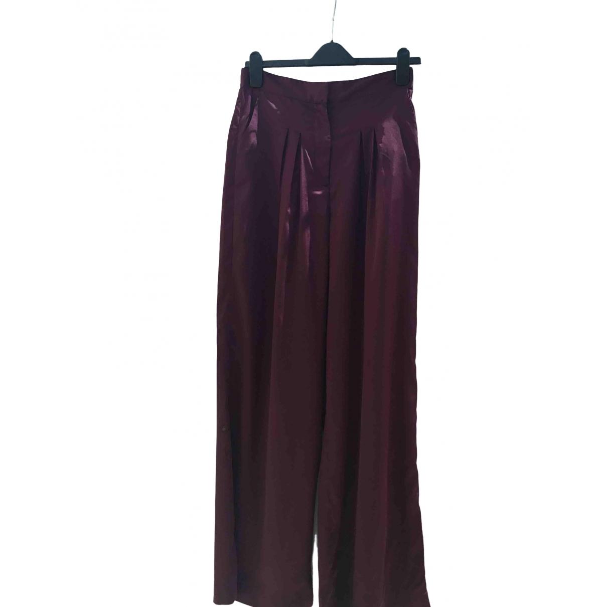 Paper London \N Burgundy Silk Trousers for Women 10 UK