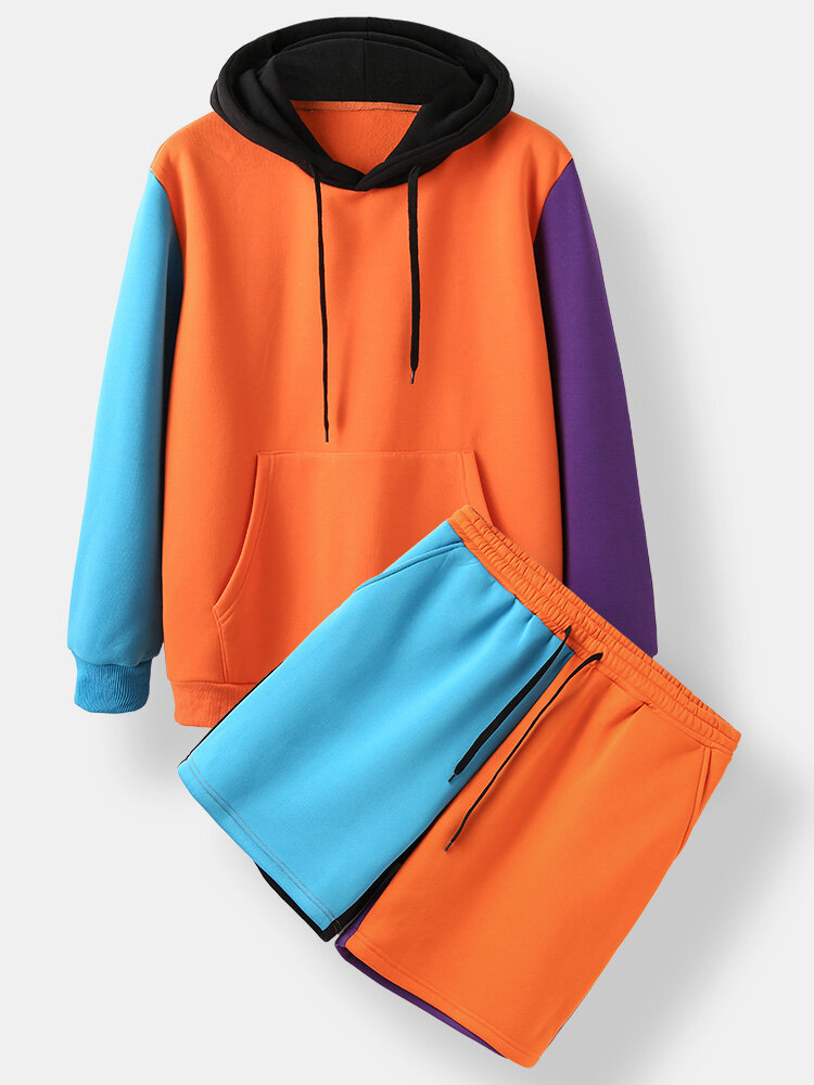Mens Colorblock Patchwork Kangaroo Pocket Hoodies Drawstring Shorts Two Pieces Outfits