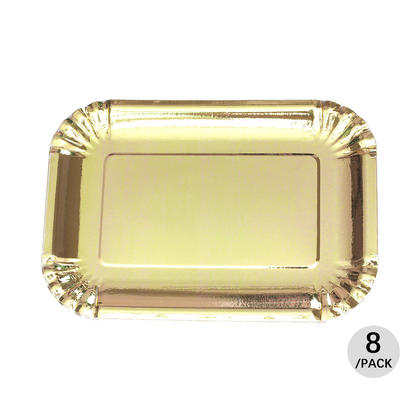 Party Paper Rectangular Plate 19*27cm, Foil Gold, 8Pcs - LIVINGbasics™