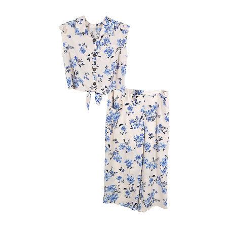 Lilt Little & Big Girls 2-pc. Floral Pant Set, Large (14.5/16.5) Plus , White