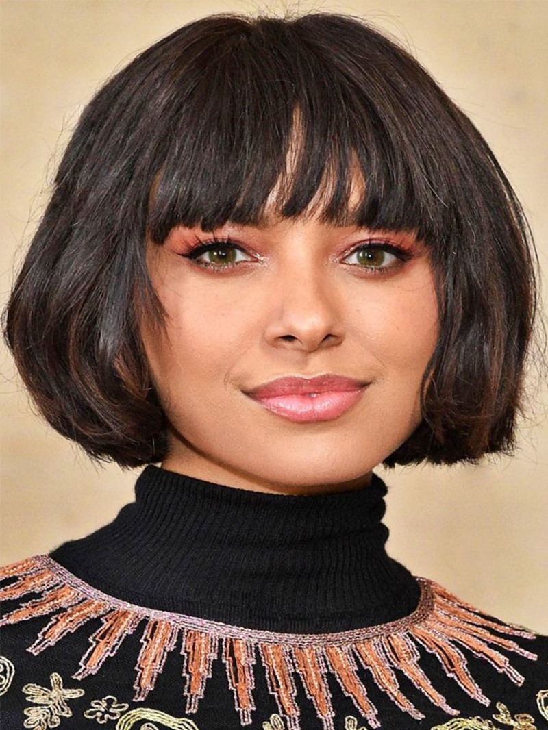 Ericdress Women's Straight Human Hair Wigs With Bangs Short Bob Hairstyle Lace Front Wigs 10Inch