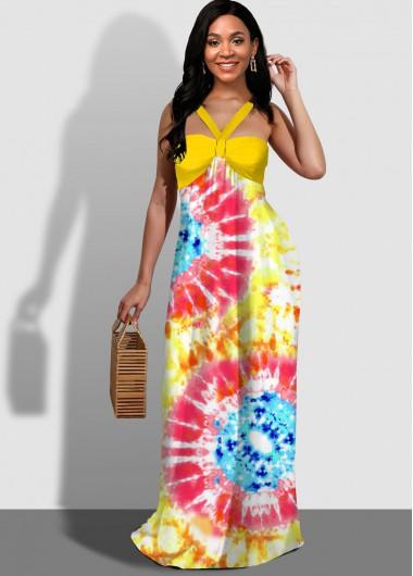 Cocktail Party Dress Tie Dye Print Spaghetti Strap Maxi Dress - L
