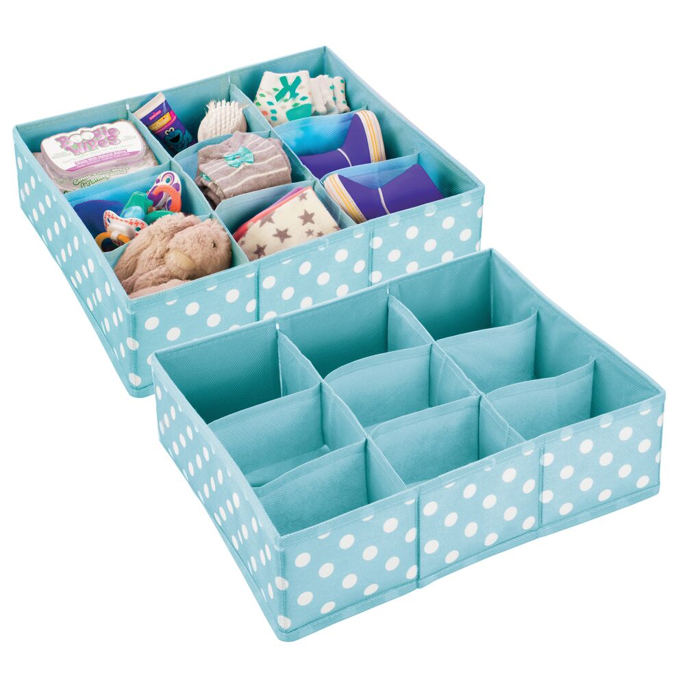 9 Section Baby + Kids Fabric Drawer Organizer in Turquoise/White, 14 x 12 x 4, Set of 2, by mDesign
